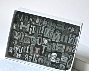 Vintage Letterpress Type Large Box of Assorted Common Letters for Altered Art Mixed Media