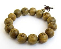 15mm Green Sandalwood Prayer Beads Tibet Buddhist Buddha Mala Bracelet FO Kwan-Yin  T0054