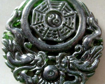 One Natural Stone Design Double Sides Twin-Dragons Tai-Ji 8-Diagram Charm Amulet Talisman Bead Pendant 50mm x 50mm  T2161