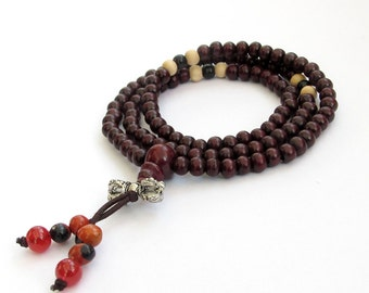 5mm x 4mm Natural Red Wood 108 Tibet Buddhist Meditation Yoga Prayer Beads Mala  ZZ125