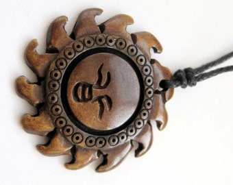 Ox Bone Carved Happy Sun Face Pendant 35mm x 35mm  T0278