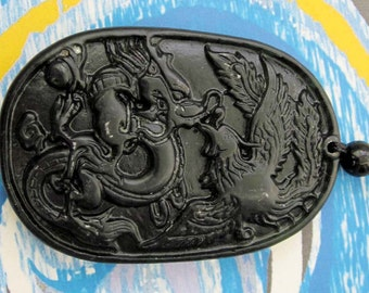 Talisman Lucky Happy Dragon Phoenix Love Natural Stone Amulet Pendant 53mm x 36mm  TH009