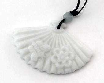 Natural Stone Fan Shape Flower Bee Pendant 45mm x 30mm  TH276