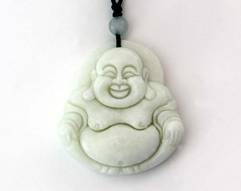 Natural Stone Talisman Laughing Buddha God Tibetan Buddhist Amulet Pendant 39mm x 36mm  TH285