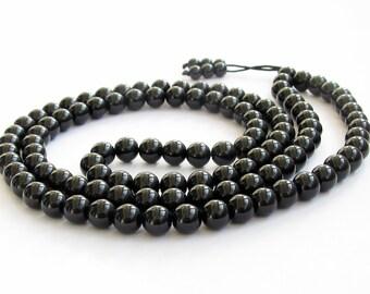 Tibetan Buddhist 108 8mm Black Color Glass Meditation Yoga Prayer Beads Mala Necklace  ZZ301