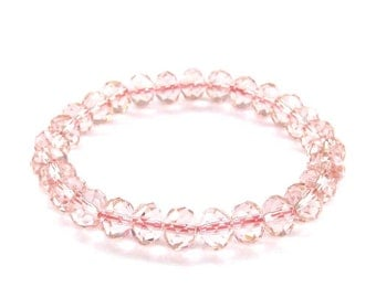 Female Jewelry 8mm x 6mm Faceted Light Pink Clear Glass Beads Bracelet  T3137