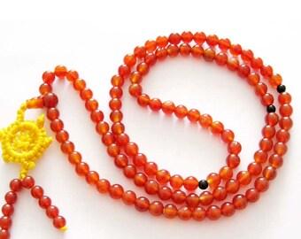 Tibetan Buddhist 108 Agate Gem Beads Prayer Mala Necklace  ZZ121  6mm
