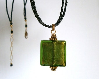 Green Venetian Bead Necklace Small Square Glass Pendant Black Multi Strand Seed Bead Necklace Geometric Jewelry ~ Ready to Ship