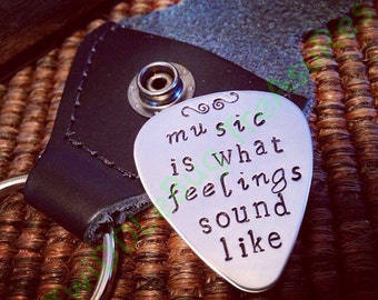 Stainless Steel Guitar Pick - PHRASE - Hand Stamped - Guitar Pick - Custom Pick - Leather Case - Hand Stamped Pick