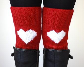 Knit boot cuffs, Heart legwarmer, Red boot cuffs, Heart Knit cuff, Red boot topper, Heart boot cuff, Red Knee sock, Women Knee Warmers
