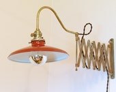 "Lg Industrial Scissor Wall Sconce Lamp w Porcelain Metal Shade - 45"" Extension - Distressed Steampunk Lighting - Articulating Light"