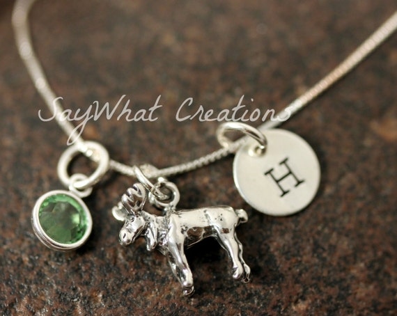Sterling Silver Moose Charm Necklace with Mini Hand Stamped Initial and Birthstone