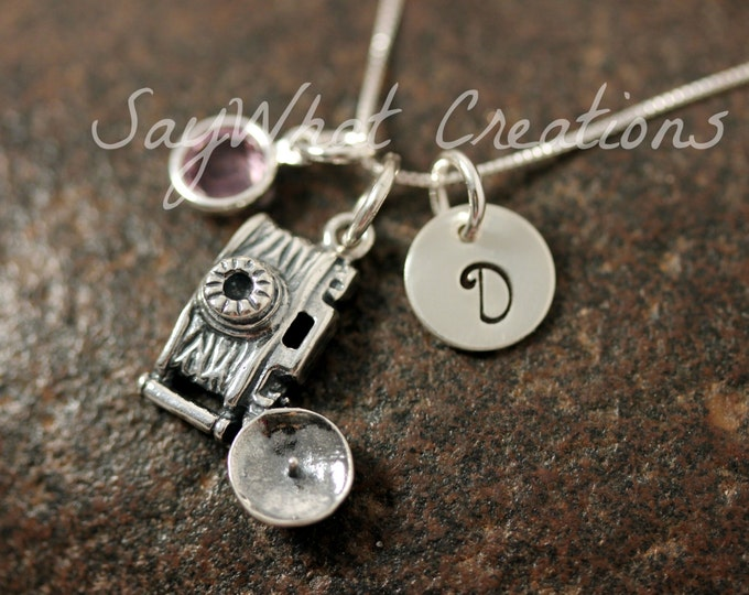 Hand Stamped Sterling Silver Mini Initial Charm Necklace Photographer Camera