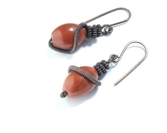 Red jasper earrings, rustic earrings, copper earrings, dangle earrings, wire wrapped  jewelry