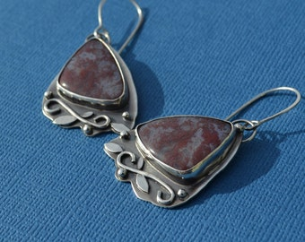 Sterling Silver and Natural Moss Agate Earrings
