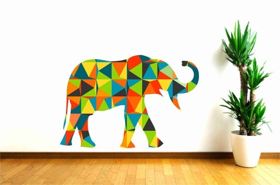 Nursery decal elephant wall decal colorful elephant decal Colorful elephant home decor
