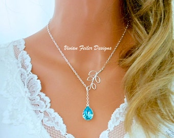 TEAL BLUE Necklace Lariat Bridesmaid Gifts Sterling Silver Branch Light Turquoise Wedding Jewelry