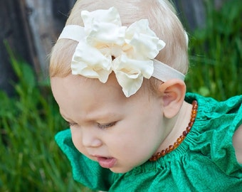 Baby headband, Double Layer Ruffle Ribbon Baby Headband Bow  ANY color YOU choose, baby bow, Boutique Bow, Kinley Kate