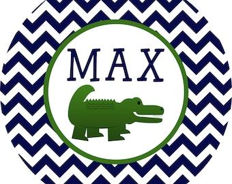 Personalized Alligator Chevron Melamine Plate
