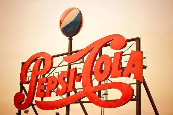 Retro Pepsi Cola Cursive Logo Sign - Retro Kitchen Decor - Vintage Pepsi Logo - Bold Typography - Red Wall Art - Fine Art Photography