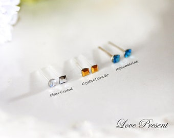 PIF - Swarovski Crystal Stud Tiny Teeny Rhinestones Square Cartilage Earrings - Hypoallergenic or Metal post - Choose your color and post