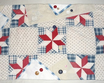 Vintage Patchwork Quilt Table Runner Mat - Dresser Scarf   33 x 17