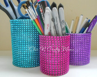 3pc Color burst BLING recycled tin can desk set