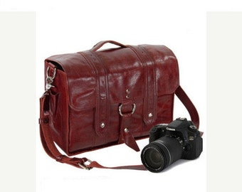 "15"" Red Sonoma Italian Leather Camera Bag"