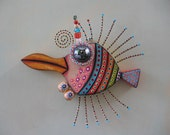 Poisson pingouin, Original objet trouvé Wall Art, Wood Carving, par Studio de confiture de figue