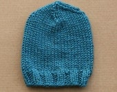 Super Chunky Knit Wool Blend Ladies Beanie Hat - Teal Turquoise - Made to Order