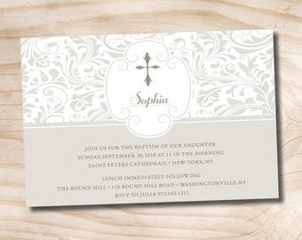 PALM CROSS Custom Baptism Invitation / Christening Invitation / Communion Invitation - Printable digital file or printed invitations