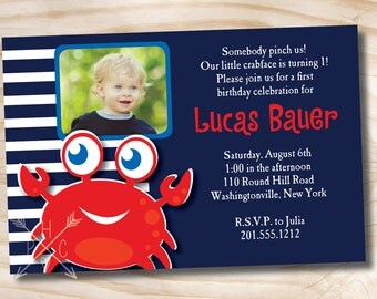 CRAB Nautical First Birthday Birthday Party Event Printable Invitation