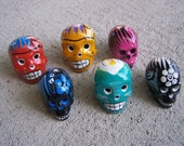 Day of the Dead Lot of 6 Clay Painted Mini Skulls - Mexico