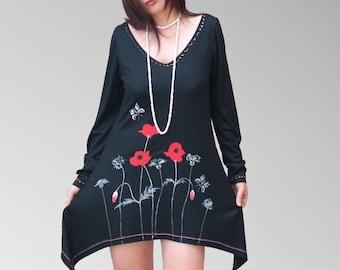 Garden Flower Hand painted women dresses/ Black day evevning prom dresses/asymmetric tunics