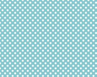 Riley Blake Designs - Le Creme Dots - Small Dots in Aqua - Cotton Fabric - 1 Yard