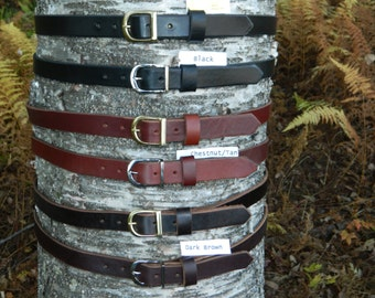 "Handmade Thick Leather Belt Men's Women's 1"" inch wide Black Brown Chestnut cut to your size"