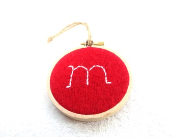 Custom Initial Hoop Ornament / YOU CHOOSE Initial and Color / Embroidered Initial Christmas Ornament / Monogram Ornament by WormeWoole