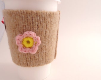 Wool Coffee Cozy TAN Brown with Crochet Flower Felted Sweater Wool Coffee Cosy Coffee Sleeve by WormeWoole