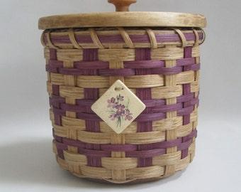 Lidded Toilet Paper Basket- Single Roll- Storage Basket-Handwoven Basket-Canister Basket-Round Basket