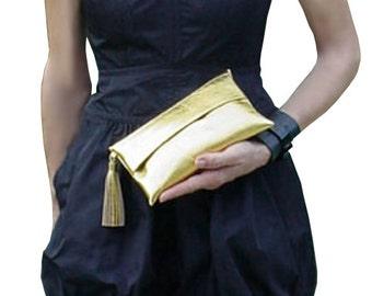 Formal Clutch, Small Leather Bag, Evening Purse, Metallic Gold Italian Leather Clutch Bag
