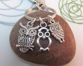 Owl  Keychain silver owl Keyring Three mini owls charms with swivel clasp