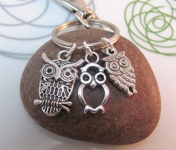 Owl  Keychain silver owl Keyring Three mini owls charms with swivel clasp