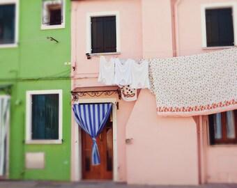 Italy Photograph - Fine Art Photography, Burano Italy, houses, pastel, laundry, windows, photo, home decor, wall art, italy art, travel, ar