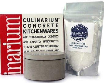 Concrete Salt Cellar Gift Set. Culinarium + Atlantic Saltworks. Concrete Container
