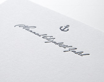 Ahoy, personalized letterpress stationery, set of 25