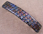 """Dichroic Barrette - 3.5"""" / 9cm - Waves Sea Wavy Abstract Fish Scales Patterned Fused Glass Bronze Gold Metallic Shiny - Tie Dye & Black"""