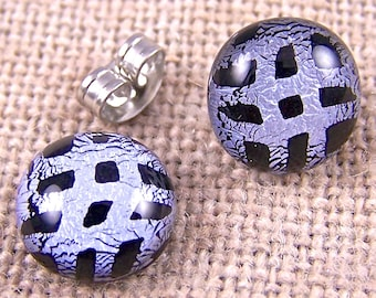 "Tiny Studs Dichroic Post Earrings - 1/4"" 7mm 8mm - Silver Gray & Black Weave Dots Patterned - Fused Glass"