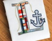 Boys Personalized Nautical Anchor Initial applique short sleeve shirt