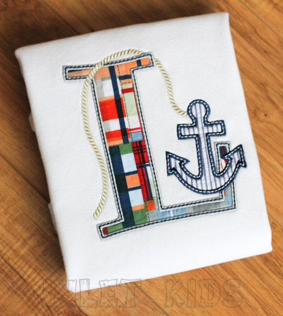 Boys Personalized Nautical Applique Anchor Initial, short sleeve shirt