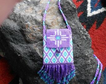 Southwestern style beaded necklace with amulet/medicine bag